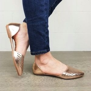 Shoes - Pointed Toe Perforated Gold Rose Flats - M13135